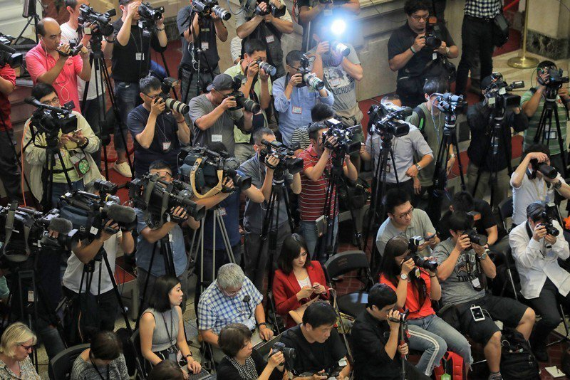 媒體採訪示意圖。 圖/取自總統府 Flickr