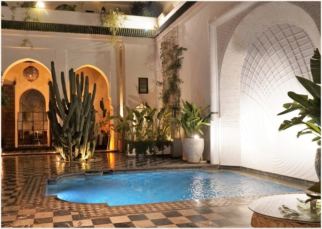 傳統摩洛哥式房屋 (Riad) 的餐廳