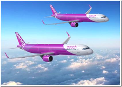預計導入樂桃航空機隊的空中巴士A321LR機型。圖/樂桃航空提供