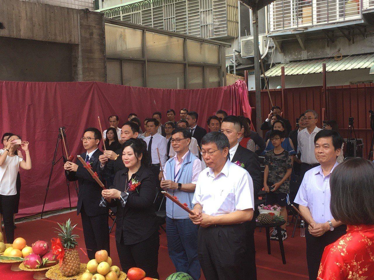 台北市長柯文哲今天上午出席台北市首件危老重建案開工典禮。記者張世杰/攝影