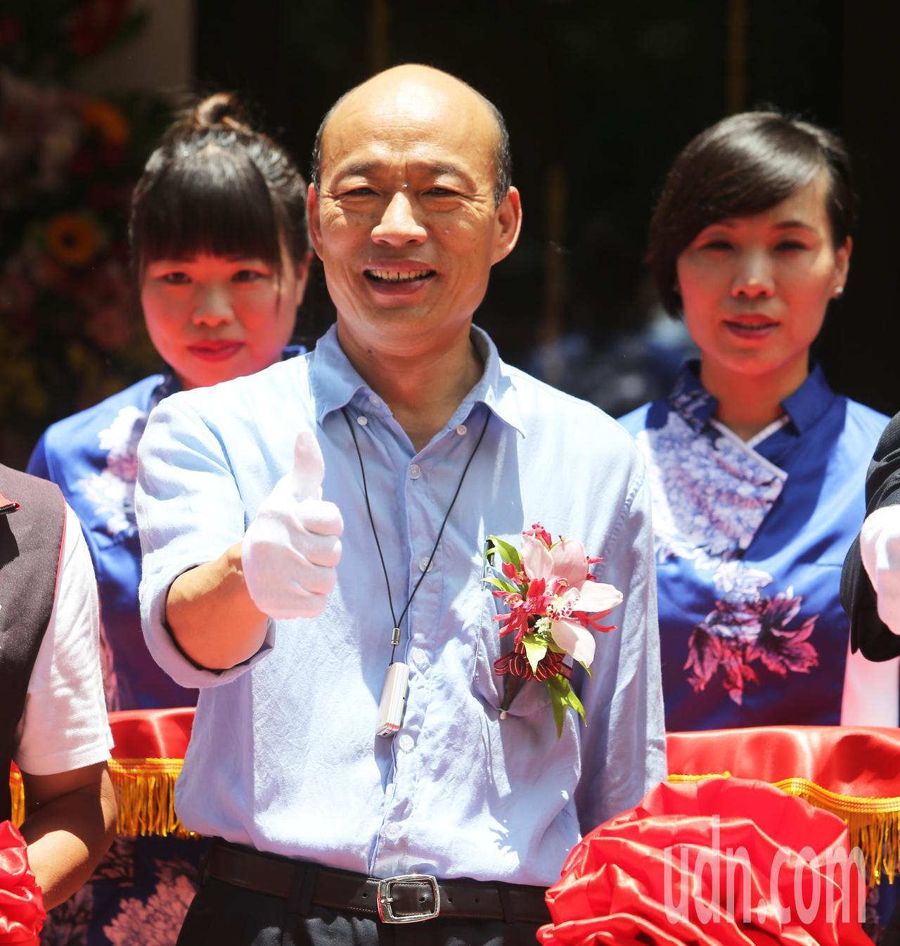 高雄市長韓國瑜參加頂鮮餐廳開幕。記者劉學聖/攝影