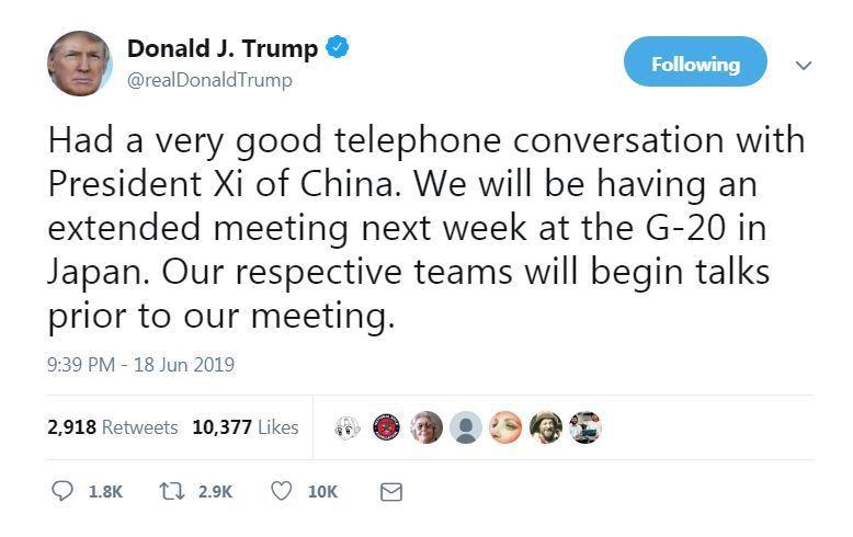 美國總統川普推文表示,已和習近平在電話上約好在G20會面。(取自推特)