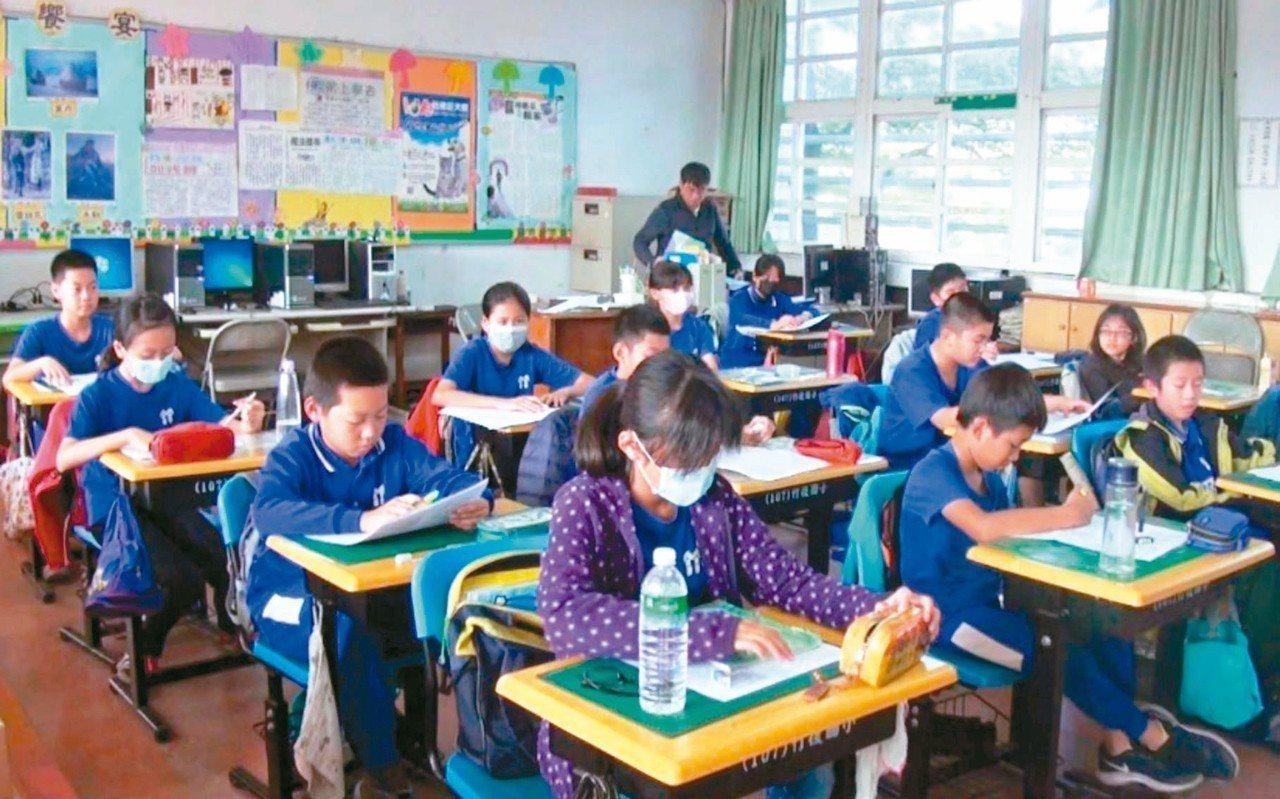 高雄市竹後國小師生每天飽受空氣汙染威脅,常需關窗戶、戴口罩上課。 圖/聯合報系資...
