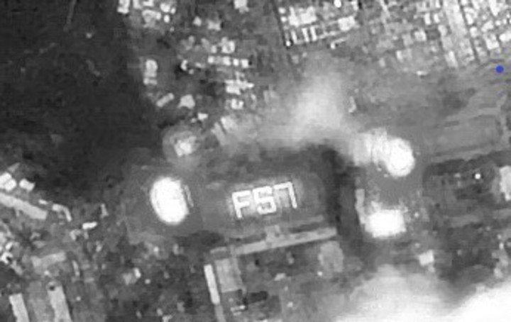 福衛五號今晚傳回影像,拍到彰化高商學1350名學生排出的「FS7」。照片/科技部...