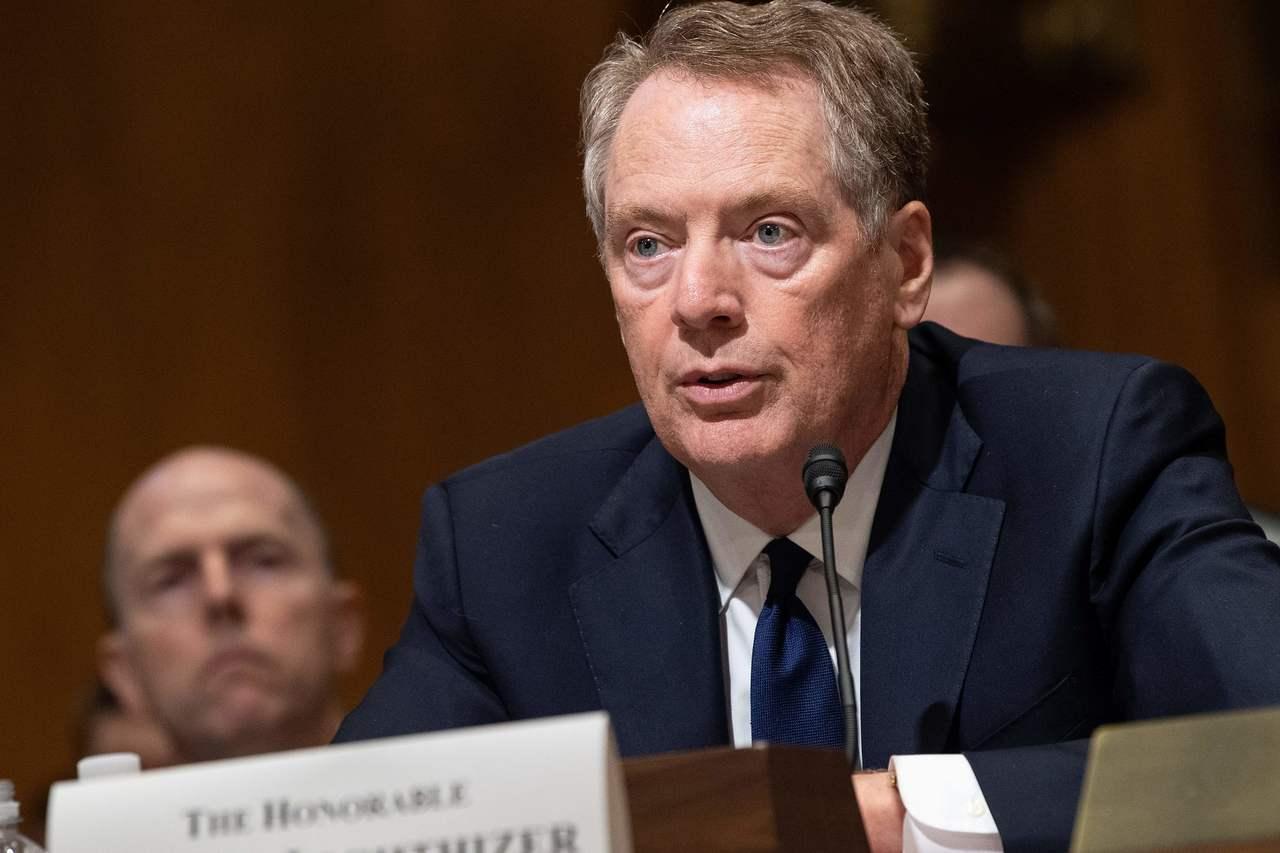 美貿易代表賴海哲18日在參院金融委員會上就川普的貿易政策作證。 (美聯社)