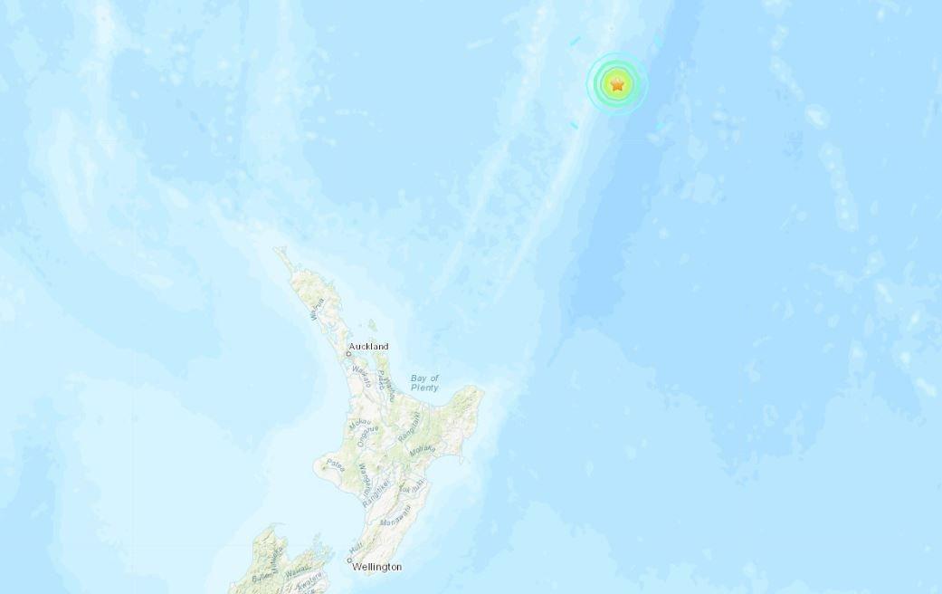紐西蘭地震。 截自美國地質研究所(usgs)