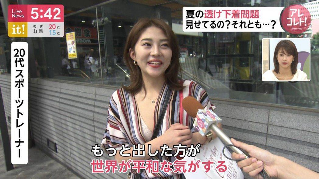 日本正妹接受街訪覺得內衣外露,可以讓世界和平。 圖/擷自PTT