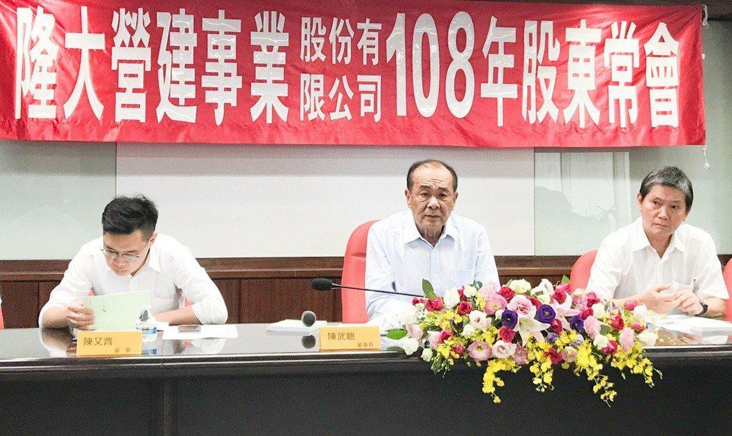 隆大營建董事長陳武聰(中)說,高雄房地產上半年有韓流,下半年就回歸正常了。 攝影...