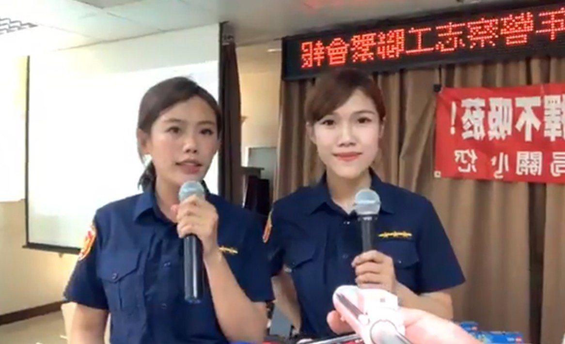 女警吳佩蓉(右)拿麥克風主持,余珮毓(左)穿恐龍裝粉墨登場,「佩、珮」雙姝共同解...