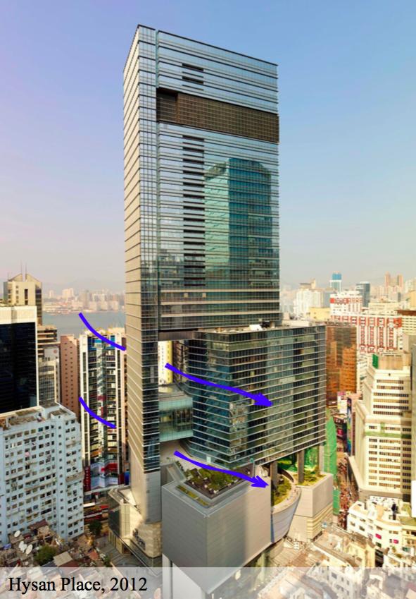 2012年落成的香港希慎廣場商辦大樓,建築物中層、底層都有開口,避免阻礙周邊區域...