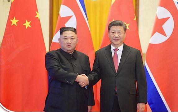 今年一月北韓領導人訪問中國與大陸國家主席習近平會面。取自新華網