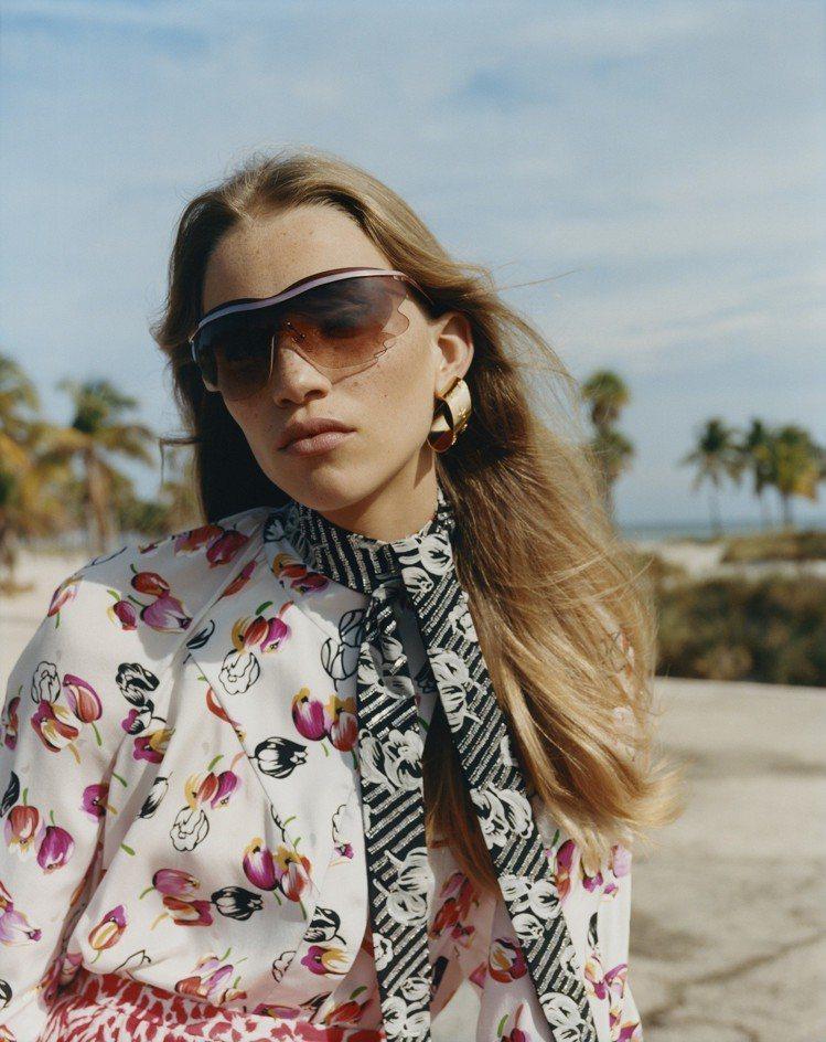 Bohemian Vuittony mask太陽眼鏡有運動風的流線設計。圖/LV...