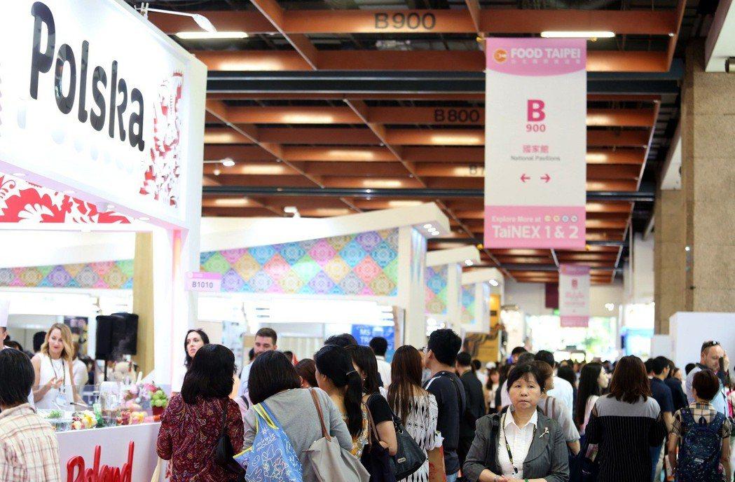 2019年台北國際食品五展開展首日盛況。圖/外貿協會提供