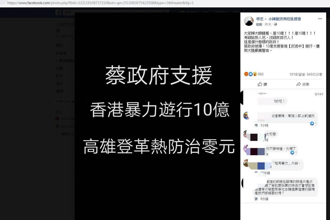 蔡政府支援10億香港暴力遊行? 刑事局立案偵辦假新聞
