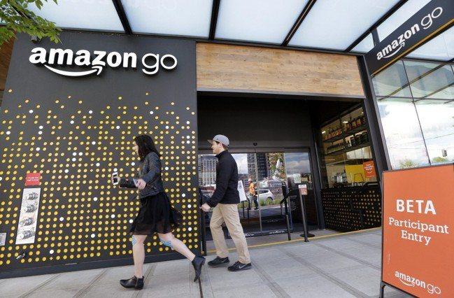 Amazon西雅圖Amazon Go無人商店門市,主張不用排隊結帳。美聯社
