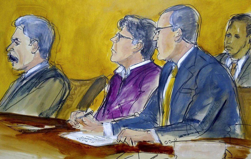 拉尼爾(中)開庭示意圖。 美聯社