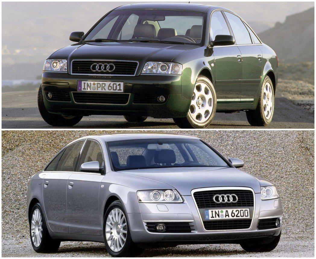 圖上:為Audi A6(C5)前保桿的造型還在 圖下:到了下一代Audi A6(...
