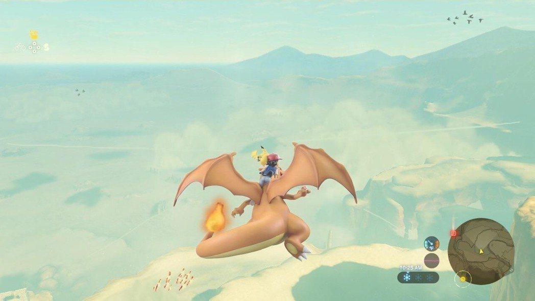 騎著噴火龍在各處遨遊/圖片截自Reddit
