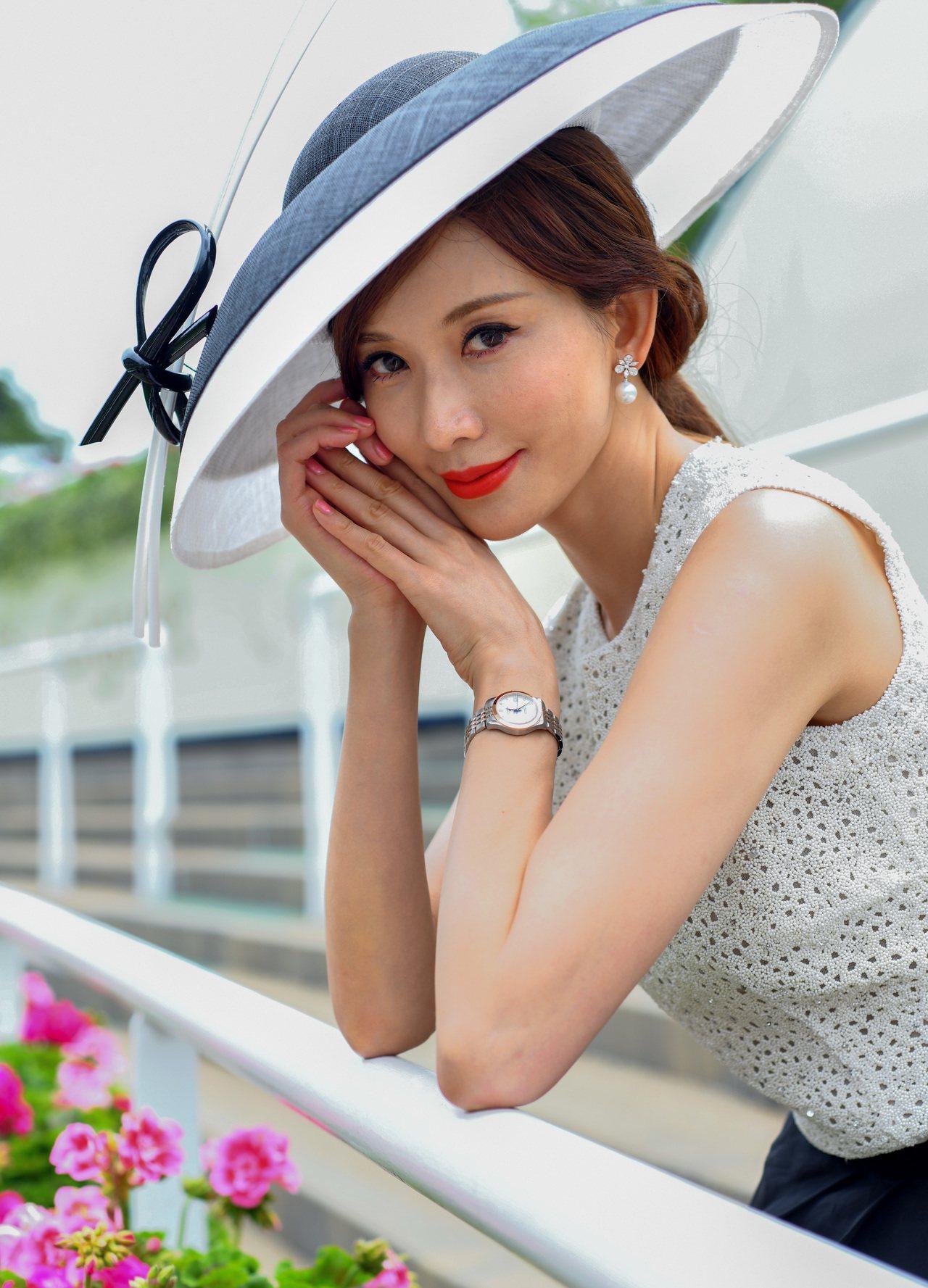 林志玲配戴浪琴表出席英國皇家賽馬會活動,顯得氣色極佳。圖/浪琴表提供