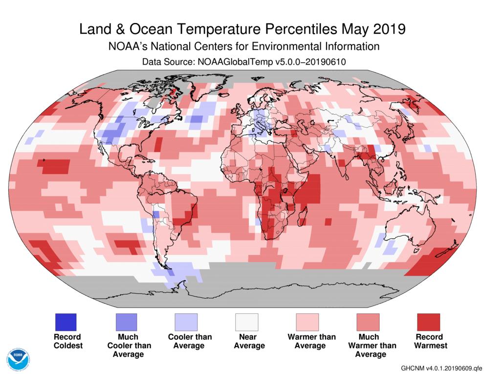 NOAA報告指出,5月的極端炎熱氣候發生在非洲南邊、西印度洋、紐西蘭及附近的南海...