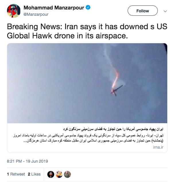 伊朗宣稱射下美國RQ-4無人偵察機。取自Mohammad Manzarpour(...