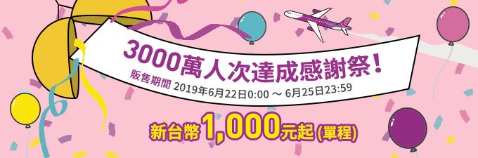 樂桃航空推出「3000萬人次達成感謝祭」,飛日本單程機票1000元起。圖/取自樂...