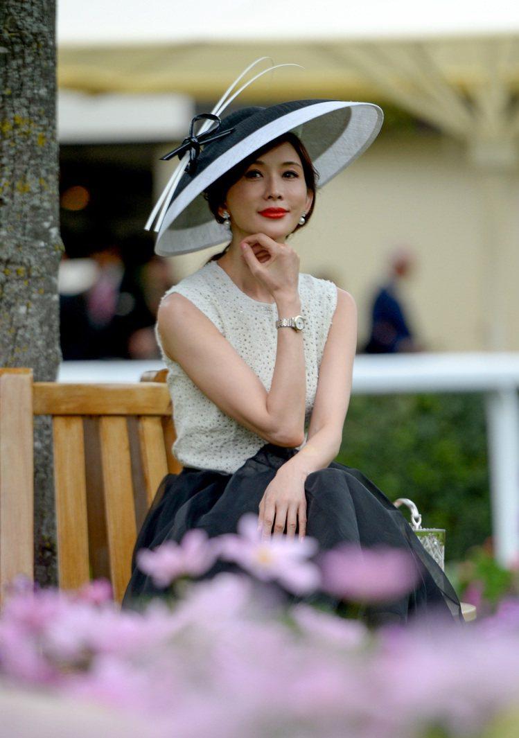 林志玲婚後首度亮相,為代言品牌浪琴表出席英國皇家賽馬會活動。圖/浪琴表提供