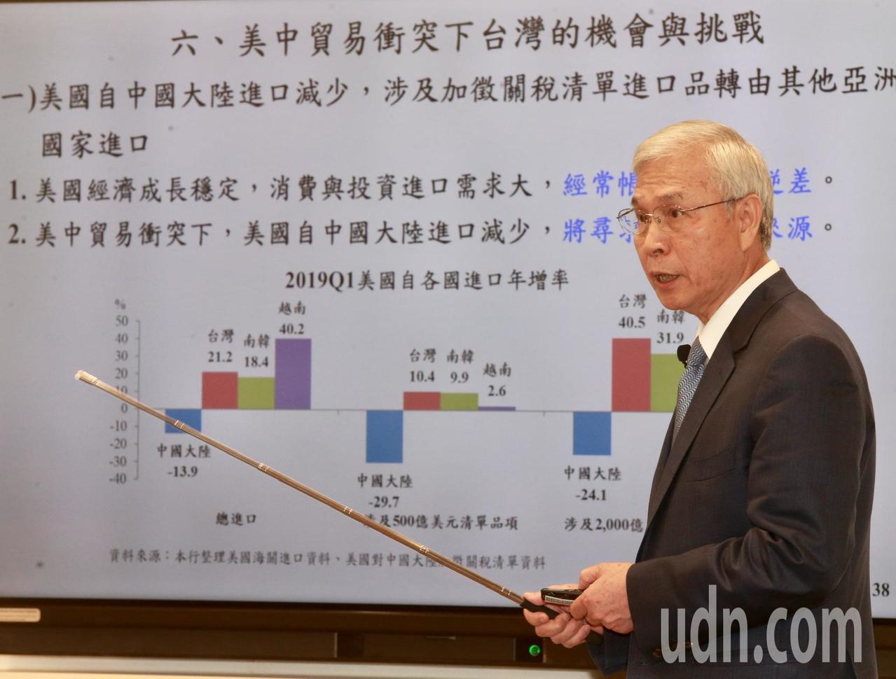 央行總裁楊金龍表示,央行預估2.06%的經濟成長,並未考量美國可能對中國輸美30...
