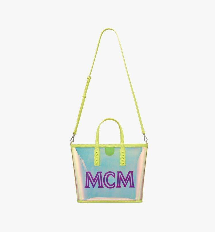 MCM FLO螢光黃小型托特包,售價17,500元。圖/MCM提供