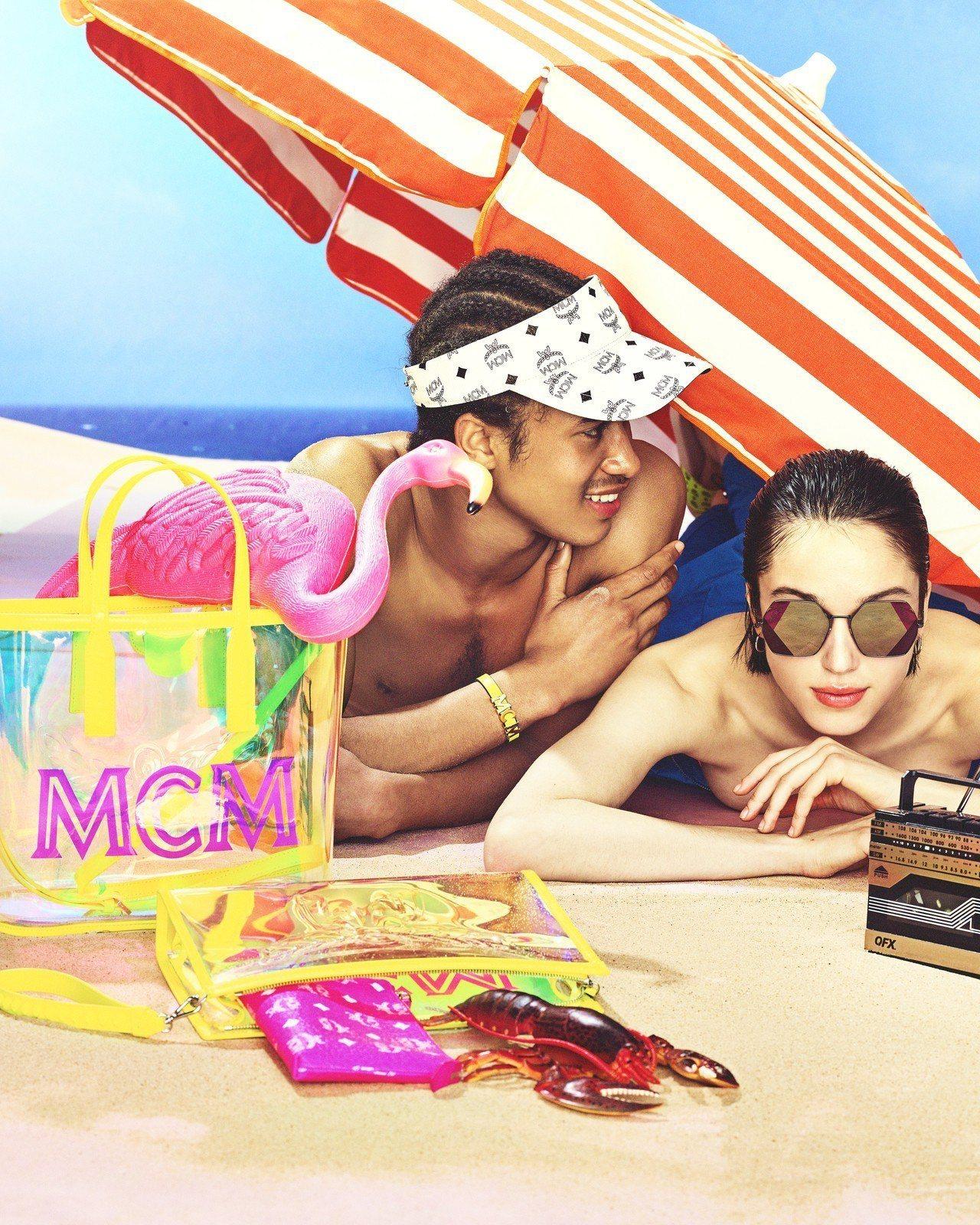 MCM(左起)FLO螢光黃小型托特包17,500元、FLO螢光黃手拿包價格店洽。...