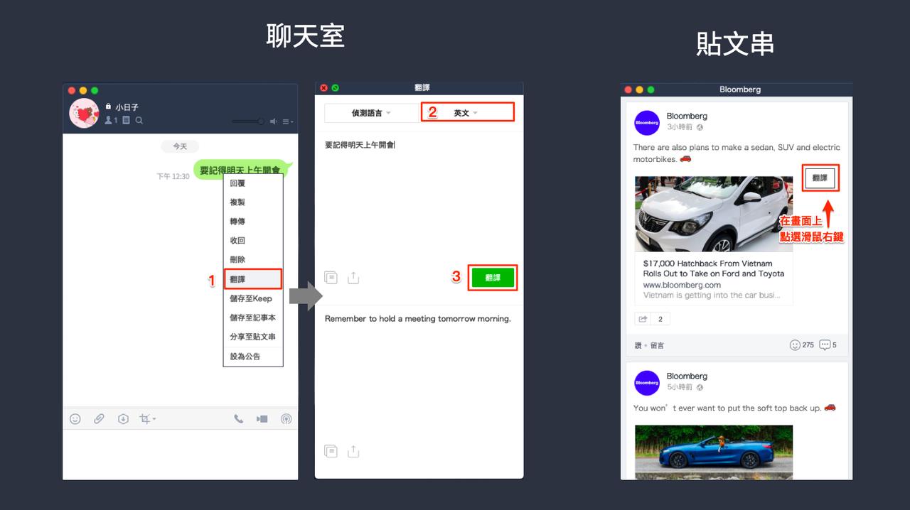 在訊息、記事本、主頁貼文串都可以快速啟動翻譯功能。圖/LINE官方部落格
