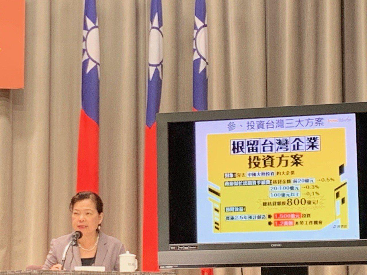 行政院會20日通過「投資台灣三大方案」,經濟部次長王美花在院會後記者會說明方案內...