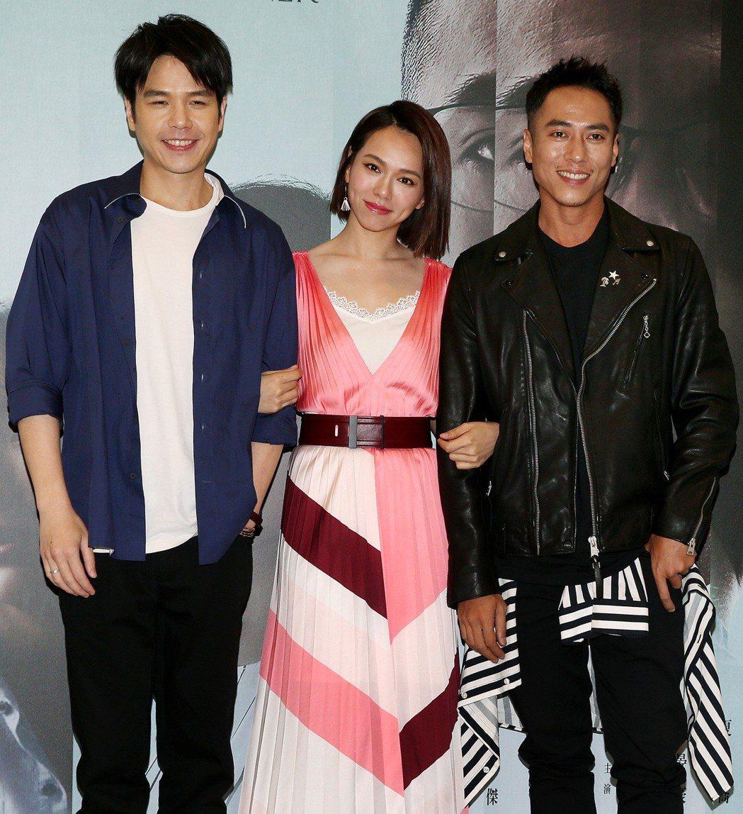 公視新戲「噬罪者」男女主角曹晏豪(左起)、夏于喬及莊凱勛。記者侯永全/攝影