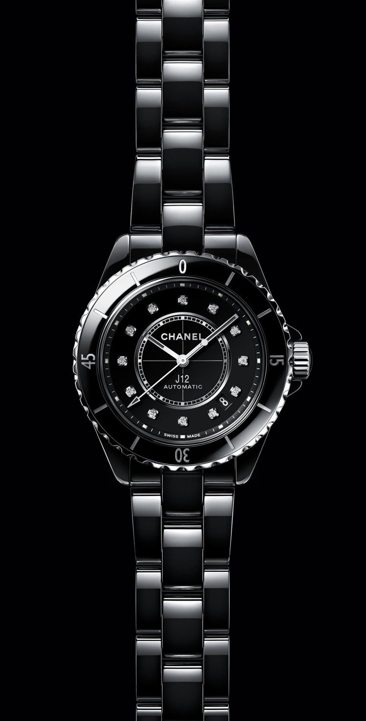 J12腕表鑽石時標款,38毫米黑色抗磨精密陶瓷搭配精鋼表殼、Caliber 12...