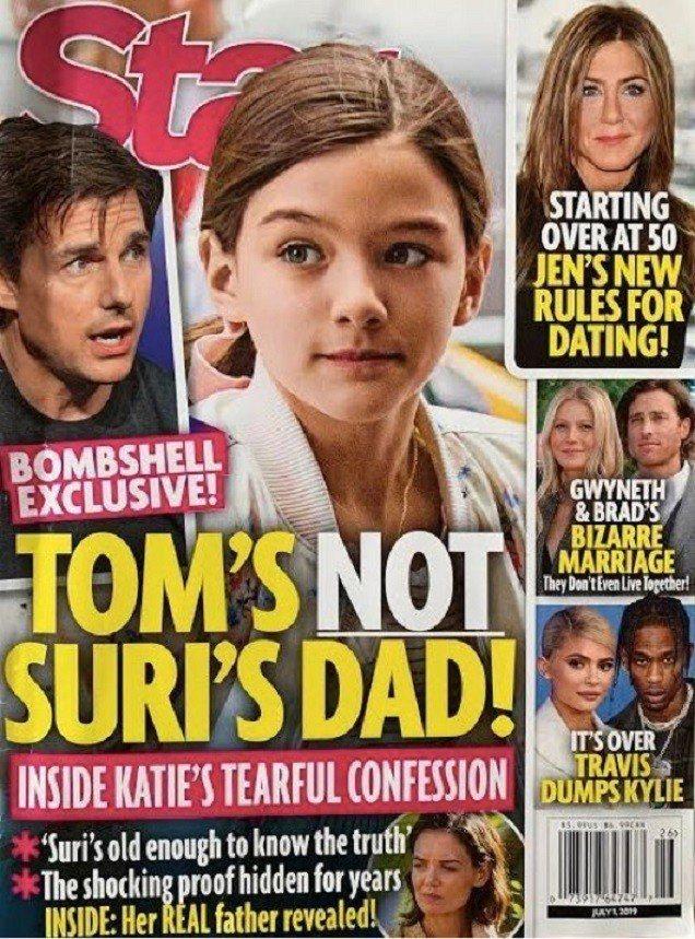 娛樂雜誌封面報導,指凱蒂荷姆絲對女兒蘇蕊表示,湯姆克魯斯不會是她的爸爸。圖/摘自...