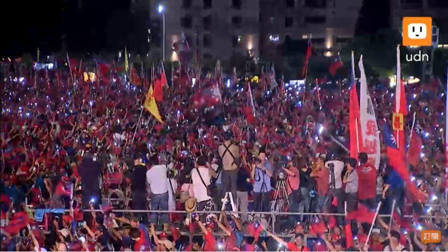 韓國瑜晚間7點20分即將大進場,現場已突破20萬人。圖擷自udn tv