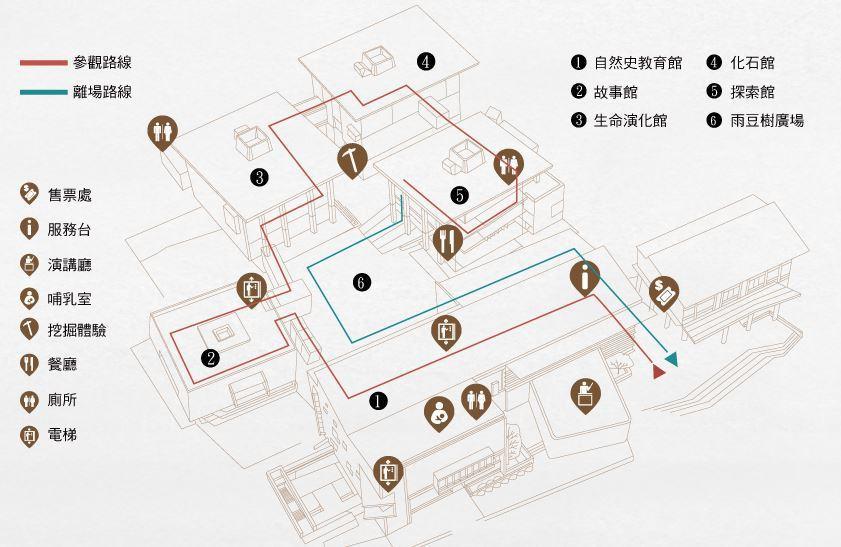 圖/臺南左鎮化石園區各館平面圖。擷取自官方網站。