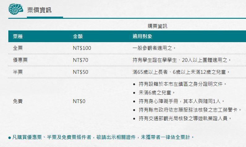 圖/臺南左鎮化石園區票價。擷取自官方網站。
