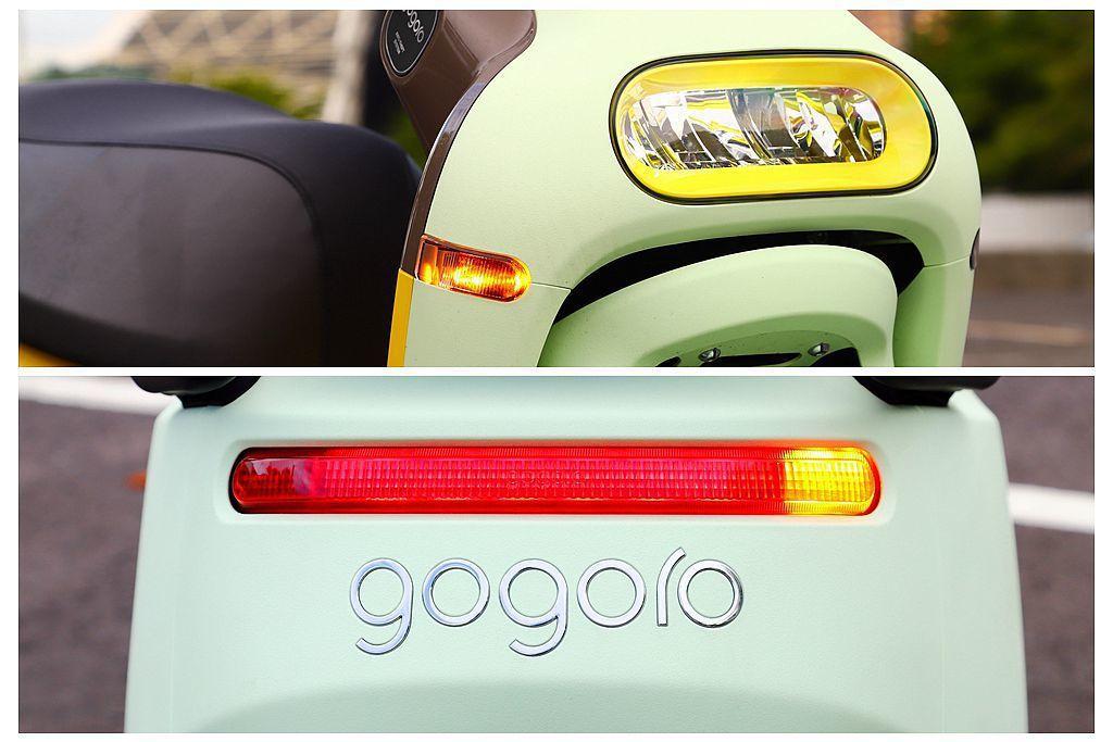 Gogoro 3的頭燈、尾燈、定位燈以及方向燈等都採用LED光源。 記者張振群/...