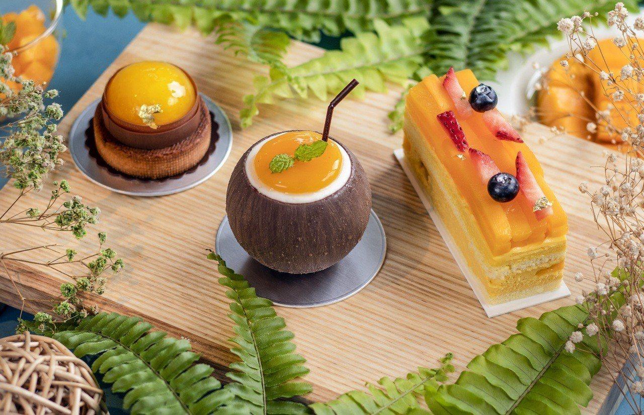 台南大員皇冠假日酒店推出3款芒果蛋糕。圖/台南大員皇冠假日酒店提供