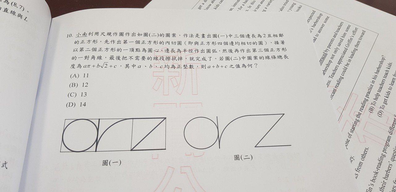 台南區高中聯合特招數學考題ORZ也放進去。記者修瑞瑩/攝影