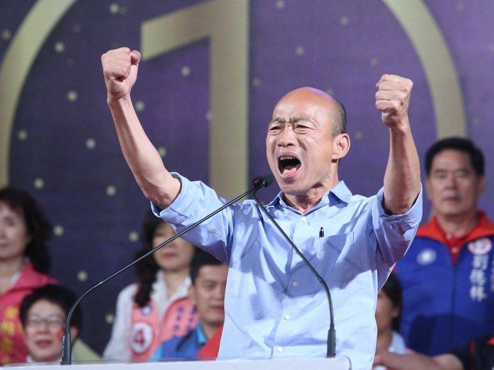捲袖藍襯衫是高市長韓國瑜的招牌造型。 圖/聯合報系資料照片