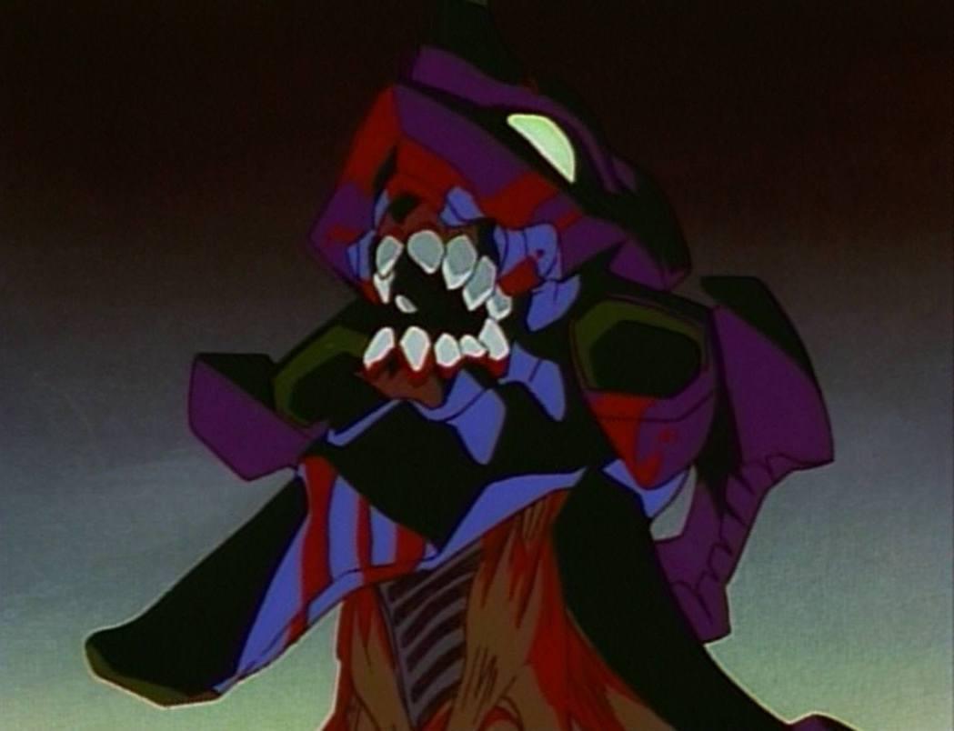 初號機噬咬吞食使徒、成為一頭茹毛飲血的凶獸,是其中最為經典的一幕。(動畫截圖)