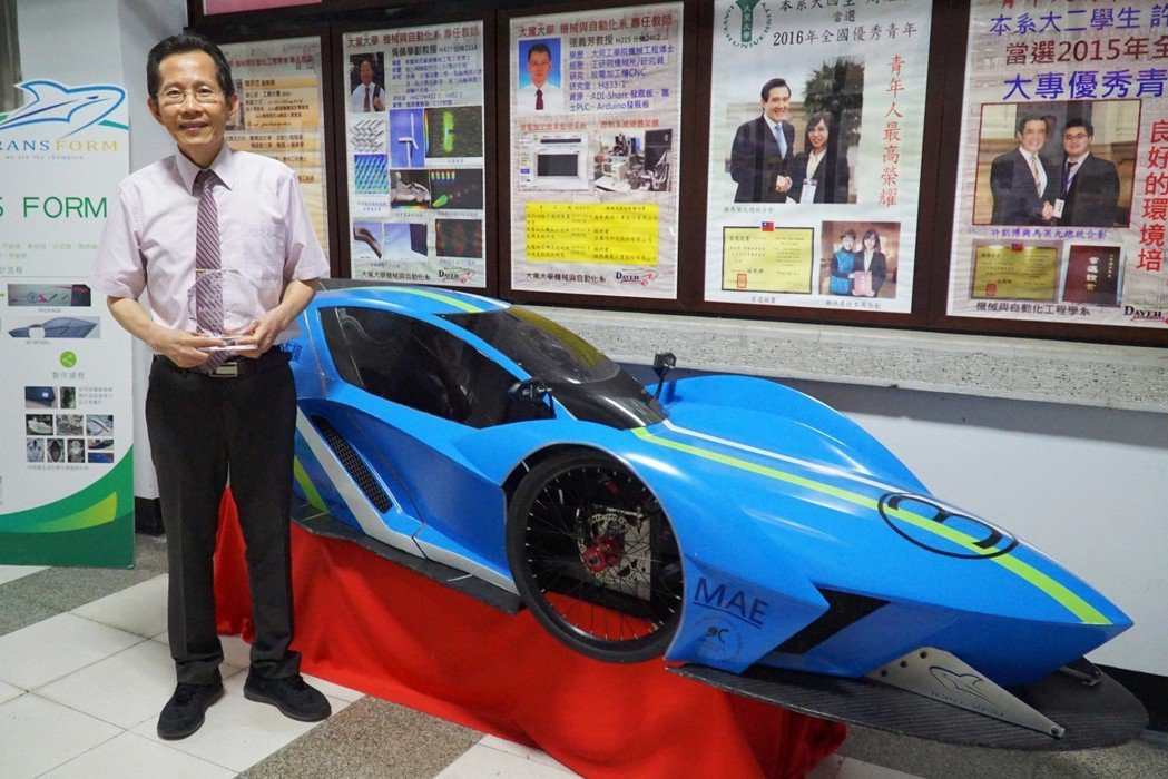 蔡耀文教授每年都會指導學生挑戰全國大專院校環保節能車大賽。 大葉大學/提供。