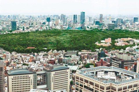 東京建築密集、熱島效應嚴重,寄望引進東京灣的風,透過串連綠地降溫。 圖/ 黃仲裕