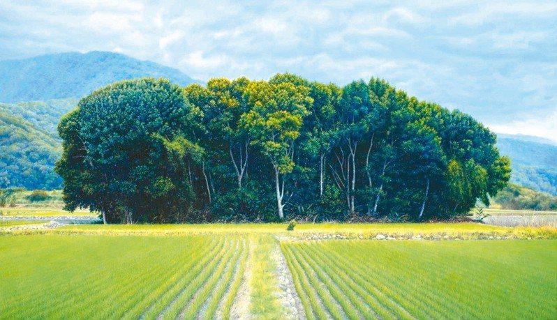 翁明崖油畫作品〈林木蓊鬱〉