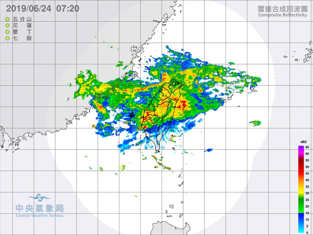 中央氣象局上午7時對16個縣市發布豪雨或大雨特報,表示今天受鋒面影響,易有短時強...