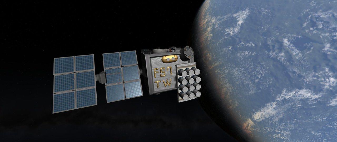 Kerbal Space Program仿製的福衛7,在側面用金色外掛燃料桶排出...