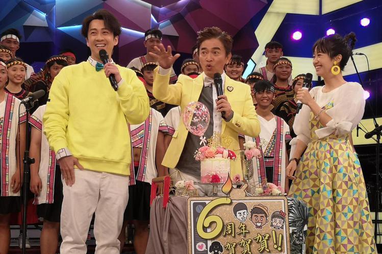 三立綜藝大熱門節目六歲今天慶祝六歲生日,吳宗憲、陳漢典和Lulu出席切蛋糕慶祝。