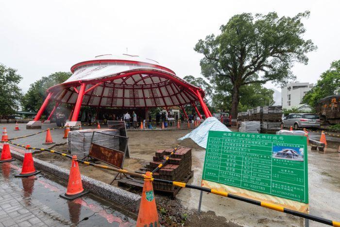 桃園市角板山第一座天幕活動場7月即將完工。圖/桃園市政府新聞處提供